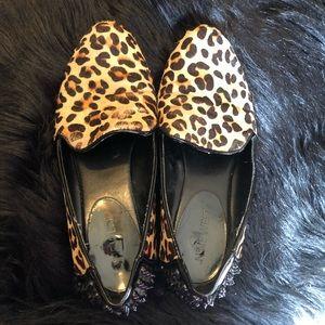 """Nine West """"Drew"""" faux fur leopard print flats"""